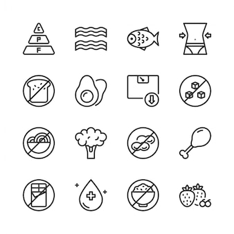 Ketogenic diet icon set