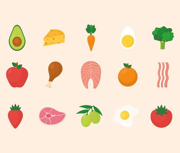 Ketogenic diet icons set