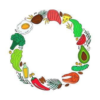 落書きスタイルのケトジェニックダイエットラウンドフレーム。低炭水化物ダイエット。古栄養。有機野菜、ナッツ、その他の健康食品