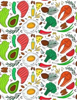 手描きの落書きスタイルのケトジェニックダイエットシームレスパターン。低炭水化物ダイエット。古栄養。ケトミールタンパク質と脂肪。健康な食品