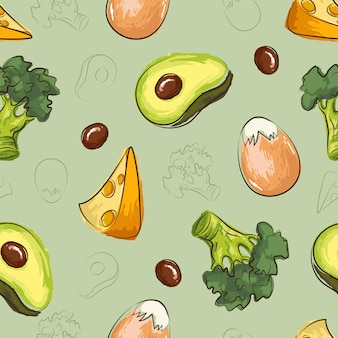 Ketogenic diet seamless pattern with egg, cheese, broccoli, avocado in hand drawn doodle style