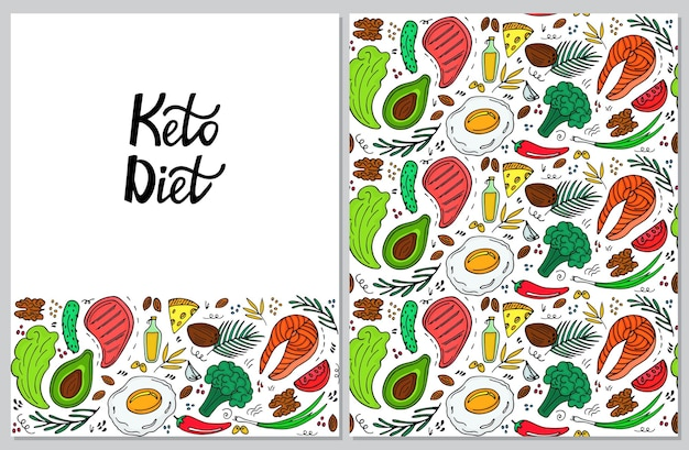 Ketogenic diet vertical banner in hand drawn doodle style. low carb dieting. keto seamless pattern.
