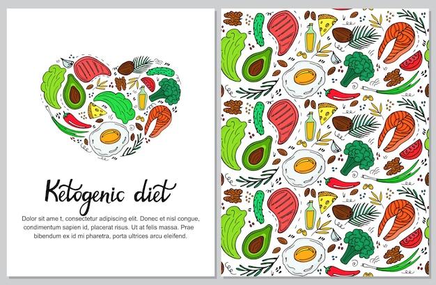 손으로 그린 낙서 스타일의 케토제닉 다이어트 수직 배너. 저탄수화물 다이어트. 팔레오 영양. 케토 식사 단백질과 지방. 건강 식품 원활한 패턴
