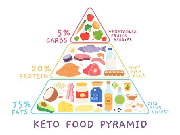 식품이 포함된 케톤 생성 저탄수화물 다이어트 피라미드. 고기, 해산물이 있는 케토 다이어그램. 고지방 및 단백질 영양 만화 벡터 개념