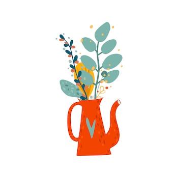 秋の花の花束とケッテル Premiumベクター