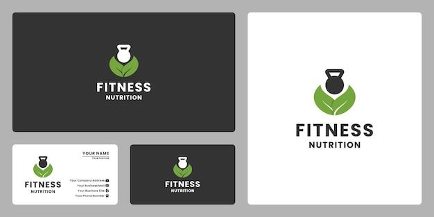 잎이 있는 케틀 벨 체육관은 피트니스 영양을 위한 로고 디자인을 결합합니다.