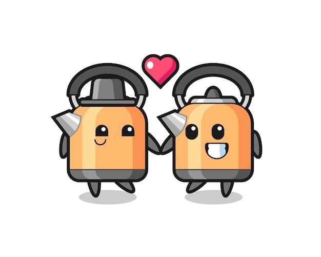 恋に落ちるジェスチャー、tシャツ、ステッカー、ロゴ要素のかわいいスタイルのデザインとケトル漫画のキャラクターのカップル