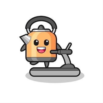 トレッドミルの上を歩くやかんの漫画のキャラクター、tシャツ、ステッカー、ロゴ要素のかわいいスタイルのデザイン