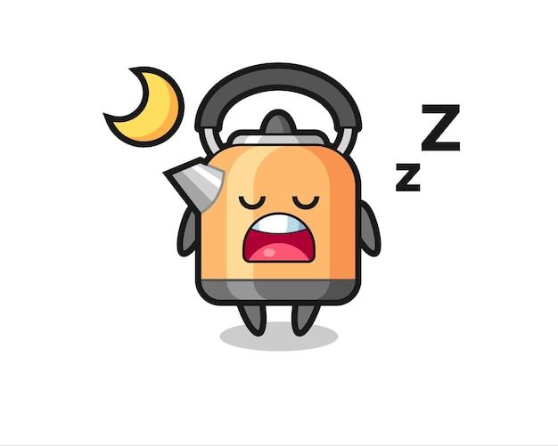 夜寝るやかんのキャラクターイラスト、tシャツ、ステッカー、ロゴ要素のかわいいスタイルのデザイン