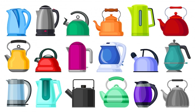 Kettle isolated cartoon set icon.   cartoon set icon electric teapot.