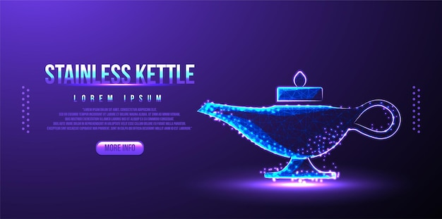 Kettle stainless low poly wireframe mesh