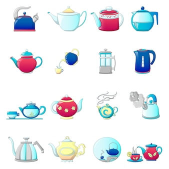 Kettle teapot icons set