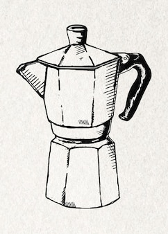Kettle vintage sticker  in black and white