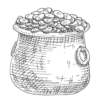 Kettle with coins. vintage hatching monochrome black illustration. isolated on white