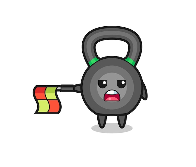 Kettleball character as line judge hold the flag straight horizontally , cute style design for t shirt, sticker, logo element