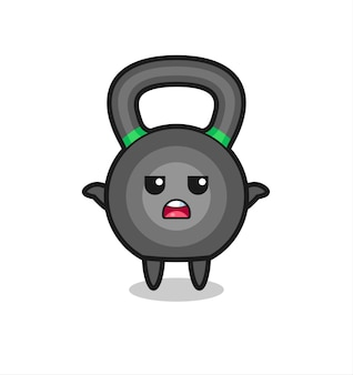 Kettleball mascot character saying i do not know , cute style design for t shirt, sticker, logo element