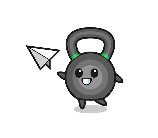 Kettlebell cartoon character throwing paper airplane , cute style design for t shirt, sticker, logo element