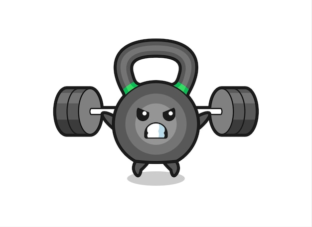 Kettlebell mascot cartoon with a barbell , cute style design for t shirt, sticker, logo element
