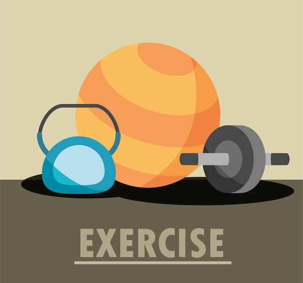 Kettlebell, wheel, abs and yoga ball equipment in flat style