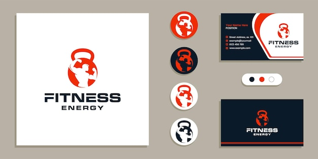 Kettlebell with bodybuilder man fitness gym logo and business card design template inspiration