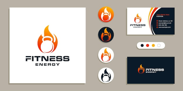 Kettlebell with fire spirit sign. fitness, gym logo and business card design template inspiration