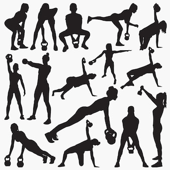 Kettlebell work out silhouettes