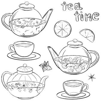 さまざまな種類のお茶が入ったやかんやマグカップ。お茶の時間。ホットドリンクのセットです。白で隔離される黒のコレクション。スケッチスタイルの手描きのベクトル図。デザインのためのクリップアート。