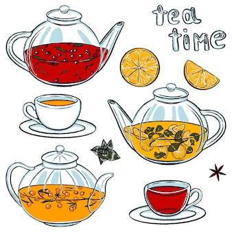 さまざまな種類のお茶が入ったやかんやマグカップ。お茶の時間。ホットドリンクのセットです。白で隔離される色のコレクション。スケッチスタイルの手描きのベクトル図。デザインのためのクリップアート。