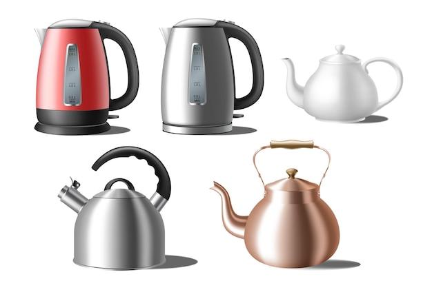 Набор чайников. современные и классические чайники Premium векторы