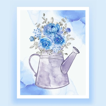 Kettles with flowers bouquets blue watercolor illustration