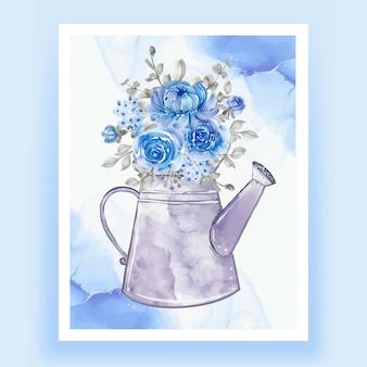 花の花束とケトル青い水彩イラスト