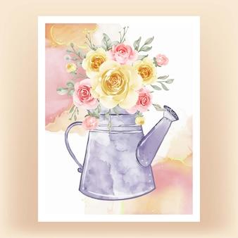 花の花束とケトル黄色桃水彩イラスト