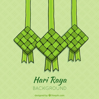 Ketupat background in hand drawn style