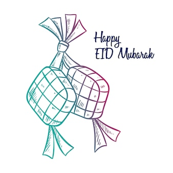 Ketupat for eid mubarak or idul fitri with hand drawn style