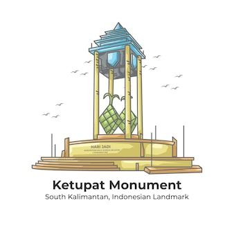 Ketupat monument indonesian landmark line cartoon illustration