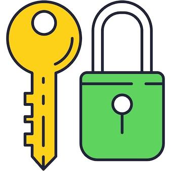 키와 닫힌 자물쇠 벡터 아이콘 평면 디자인입니다. 개인 보안, 웹 안전 비밀 코드 암호 기호 흰색 배경에 고립