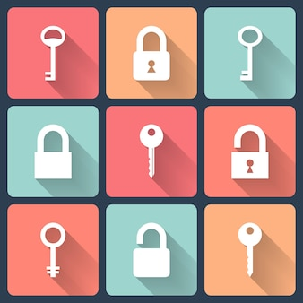 Набор иконок плоский ключ и замок. векторная иллюстрация