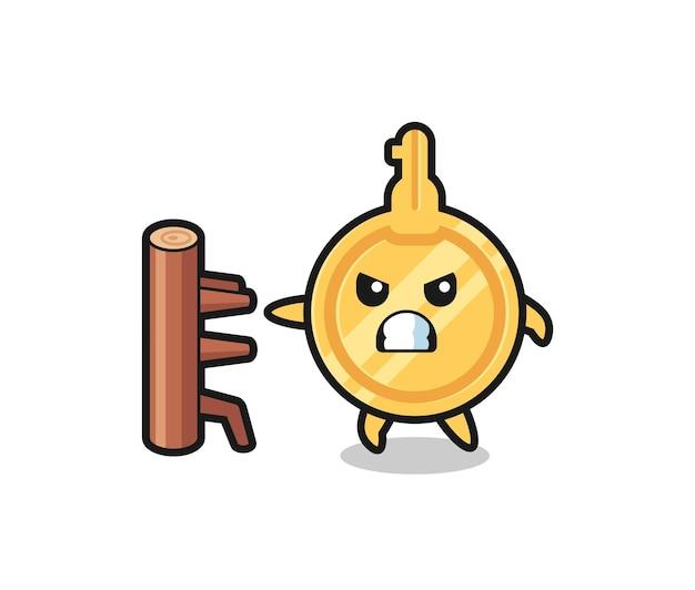 Key cartoon illustration as a karate fighter , cute design
