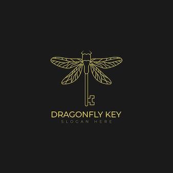Key fly dragonfly wings secret security logo symbol