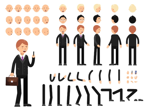 Key frames of business characters. creation mascot kit. vector constructor