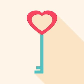Ключ в форме сердца. плоский стилизованный объект с длинной тенью