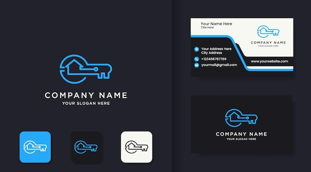 Key house technology logo using simple lines and business card design