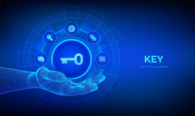 ロボットの手のキーアイコン。キーワード。成功または解決への鍵。仮想画面上のターンキーソリューションとサービス技術の概念。