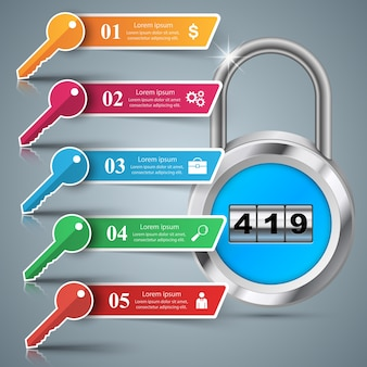 Key, lock icon. Business infographic