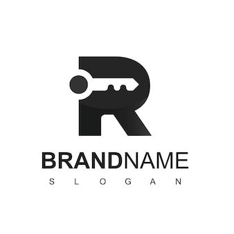 不動産およびセキュリティ会社のシンボルのrイニシャルのキーロゴ