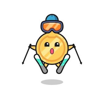 Key mascot character as a ski player , cute design