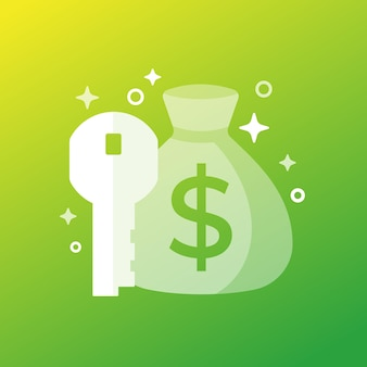 Key money icon with a bag, vector art