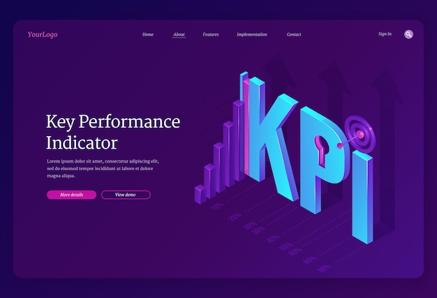 Key performance indicators landing page
