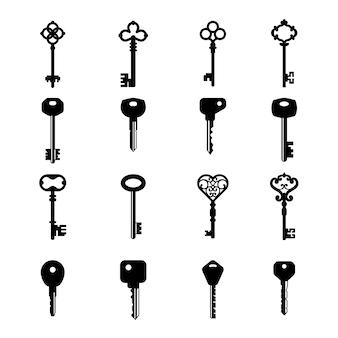 キーシルエット。家のアクセスの古くてモダンな鍵のアイコンコレクション
