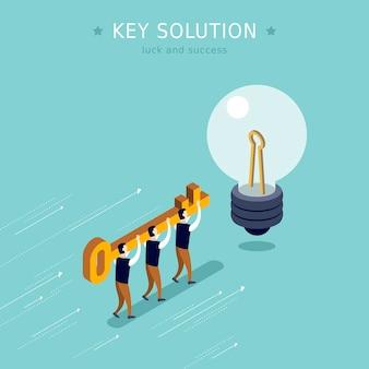 Key solution concept 3d isometric flat design Premium Vector